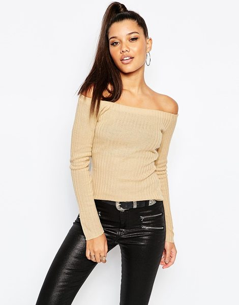 MISSGUIDED Clean bardot top in camel - Top by Missguided Ribbed knit Bardot neckline Slim fit -...