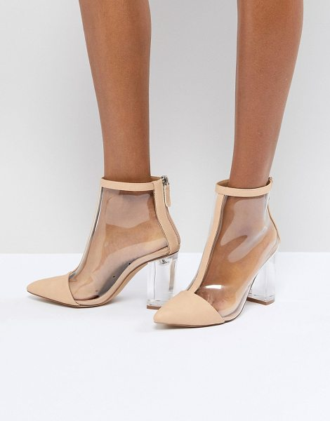 MISSGUIDED Clear Heeled Ankle Boot in nude - Boots by Missguided, Sweet looks from the ground up,...