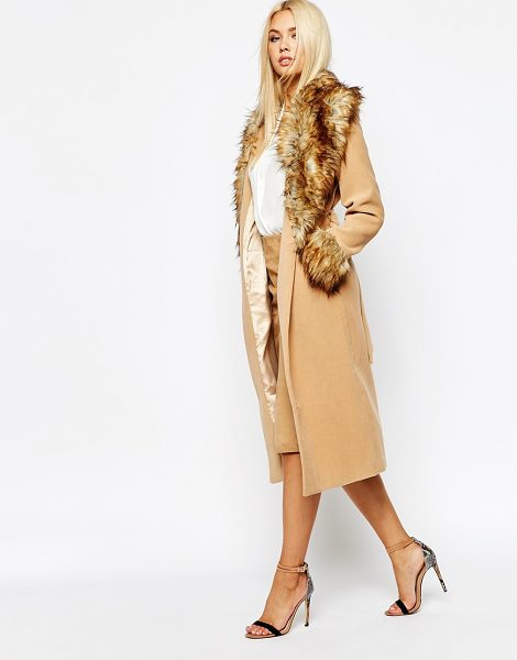 MISSGUIDED Coat with faux fur collar and cuffs in camel - Coat by Missguided Smooth woven outer Silky-feel lining...
