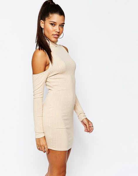 MISSGUIDED Cold shoulder bodycon dress in beige - Dress by Missguided, Ribbed jersey, Rolled neckline,...