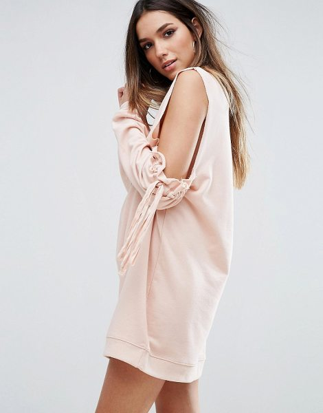 "MISSGUIDED Cold Shoulder Gathered Sleeve Sweater Dress in pink - """"Dress by Missguided, Loop-back sweat, High neck,..."
