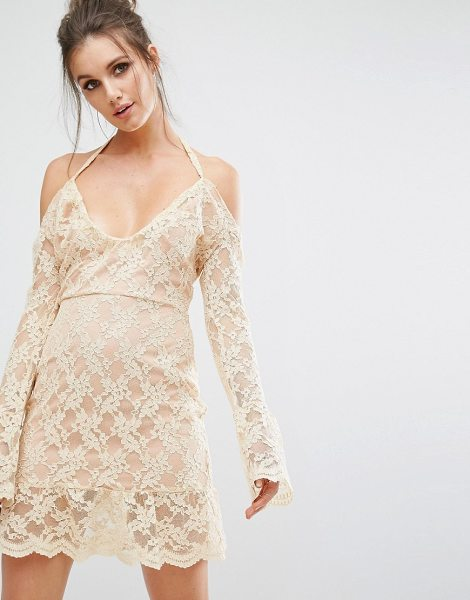 "MISSGUIDED Cold Shoulder Lace Overlay Dress in nude - """"Lace dress by Missguided, Lightweight lace, Fully..."