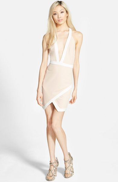 MISSGUIDED contrast halter body-con dress in beige - Contrast trim traces the edges of a halter-style...