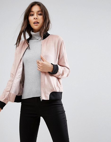 "MISSGUIDED Contrast Rib Faux Suede Jacket in pink - """"Jacket by Missguided, Faux suede, Silky-feel lining,..."