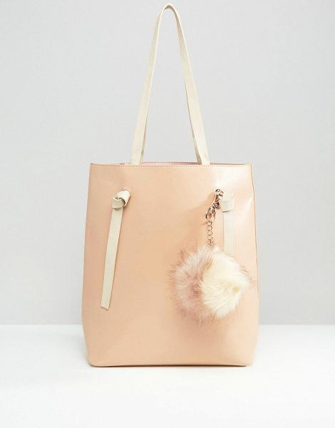 MISSGUIDED Contrast Strap Tote Bag With Pom Pom in pink - Cart by Missguided, Faux-leather outer, Contrast lining,...