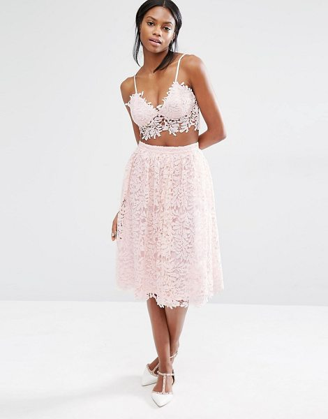 MISSGUIDED Crochet Lace Full Midi Skirt in pink