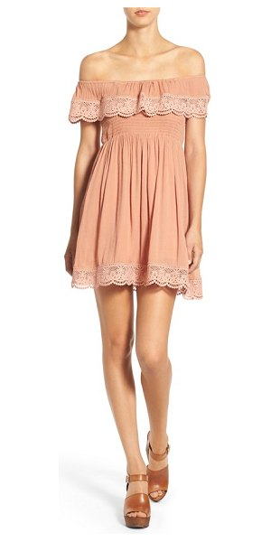 MISSGUIDED crochet trim off the shoulder dress in nude - Scalloped lace trims the ruffled off-the-shoulder...