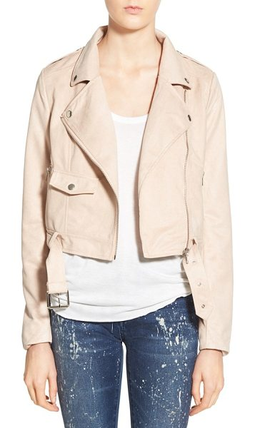 MISSGUIDED crop faux suede moto jacket in mink - Ultra-shiny hardware illuminates the pretty, pale hue of...