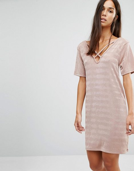 MISSGUIDED Cross Over T-Shirt Dress in pink - Dress by Missguided, Lightweight stretch fabric,...