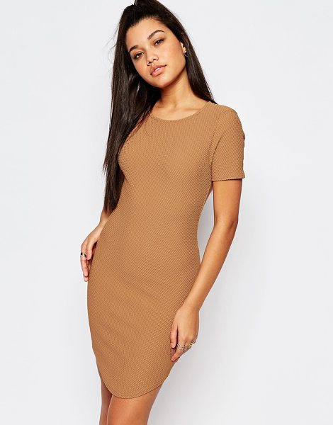 MISSGUIDED Curve hem waffle textured bodycon dress in tan - Body-Conscious dress by Missguided, Waffle textured...