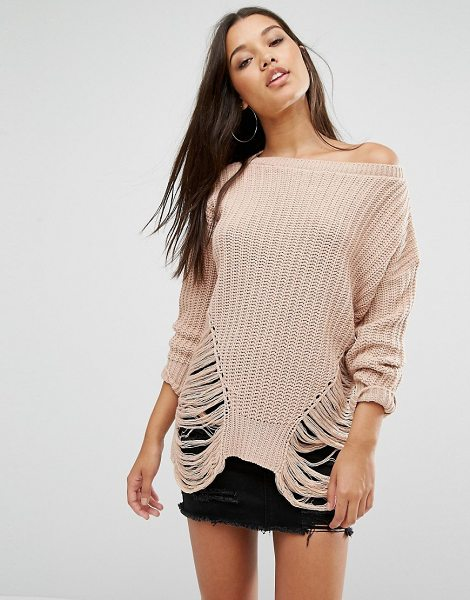 MISSGUIDED Distressed Off The Shoulder Sweater in pink - Sweater by Missguided, Textured know, Off the shoulder...
