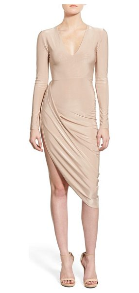 MISSGUIDED drapey asymmetrical long sleeve dress in nude - Flash some serious leg in a barely there stretch-knit...