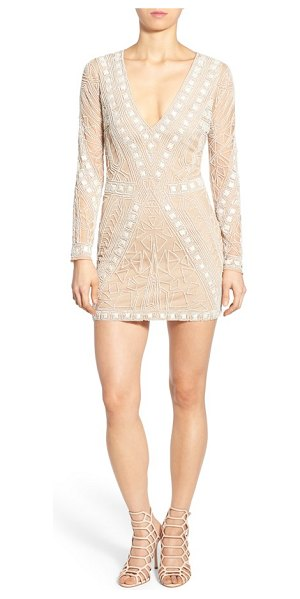 MISSGUIDED embellished plunge shift dress in nude/ white - Scores of glossy beads create a modern geo-inspired...