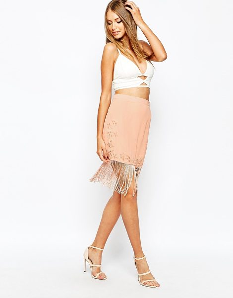 MISSGUIDED Embroided detail mini skirt in nude - Mini skirt by Missguided, Lined chiffon, Stretch fabric,...