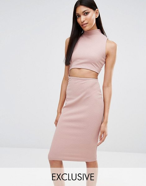 MISSGUIDED Exclusive Cut Out High Neck Bodycon Midi Dress in pink - Bodycon dress by Missguided, Textured stretch fabric,...