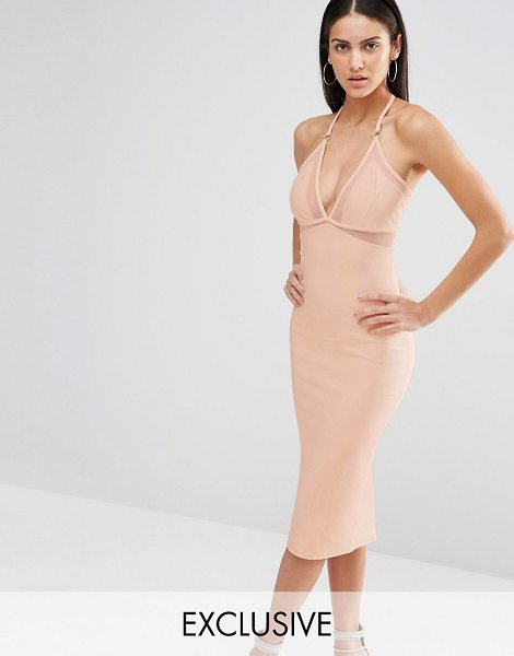 MISSGUIDED Exclusive Mesh Insert Bodycon Dress in tan - Body-Conscious dress by Missguided, Stretch fabric,...