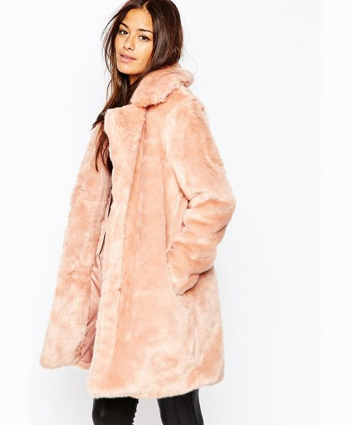 MISSGUIDED Faux fur longline coat - Coat by Missguided Faux fur Soft-touch finish Notch...