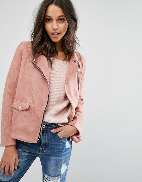 MISSGUIDED Faux Suede Biker Jacket in pink - Biker jacket by Missguided, Faux suede fabric, Notch...
