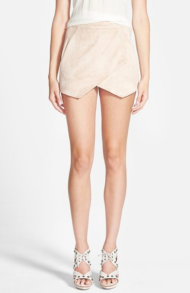 MISSGUIDED faux suede skort in tan - Sleek faux suede is fashioned into a lovely, leggy skort...
