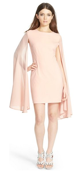 MISSGUIDED flare sleeve crepe dress in blush - Billowy, flared extensions flow from the shoulders of a...