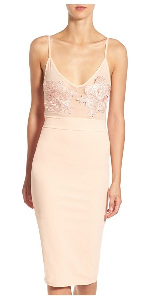 MISSGUIDED floral applique sheer body-con dress in peach - Take on the night in eye-catching style with this...