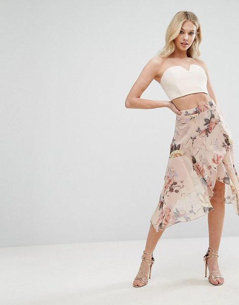 "MISSGUIDED Floral Asymmetric Midi Skirt in pink - """"Skirt by Missguided, Lightweight chiffon, Floral..."