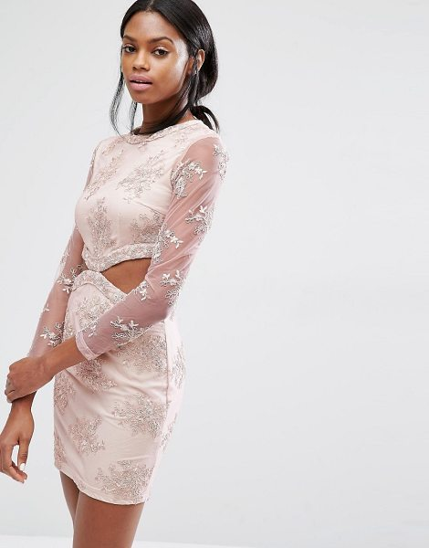 "MISSGUIDED Floral Lace Cut Out Mini Dress in pink - """"Dress by Missguided, Lined woven fabric, All-over..."