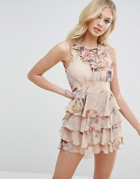 "MISSGUIDED Floral Print Lace Up Ruffle Dress - """"Dress by Missguided, Smooth woven fabric, Floral..."