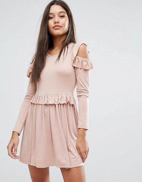"""MISSGUIDED Frill Cold Shoulder Mini Dress in pink - """"""""Dress by Missguided, Soft-touch jersey, Scoop neck,..."""
