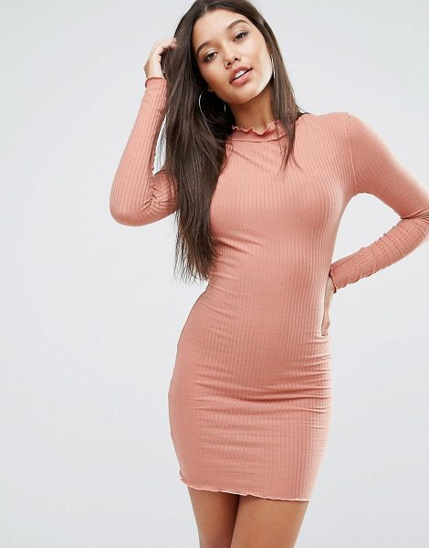 "MISSGUIDED Frill Edge Bodycon Dress - """"Bodycon dress by Missguided, Fine-ribbed jersey,..."