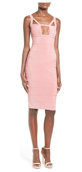 MISSGUIDED geo cutout bandage dress in peach - A square, decolletage-flaunting keyhole and triangular...