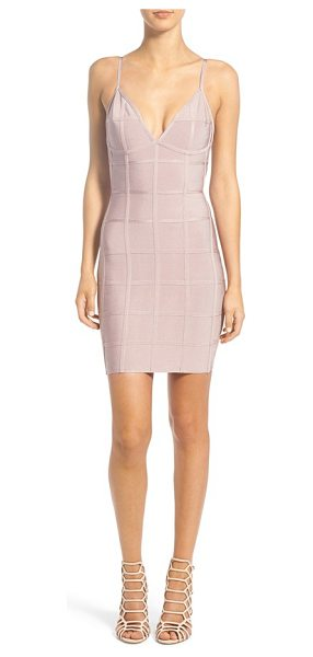 MISSGUIDED grid bandage dress in mauve - Ideal for girls' nights out, a curve-hugging bandage...