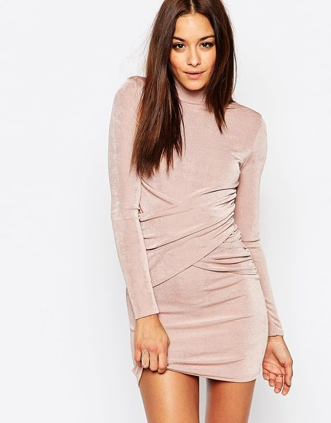 MISSGUIDED High neck bodycon mini dress in rose - Body-Conscious dress by Missguided, Slinky-feel fabric,...