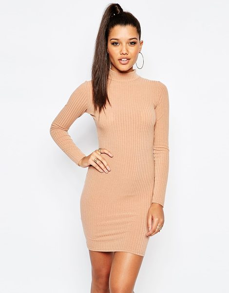 MISSGUIDED High neck rib bodycon dress in camel - Body-Conscious dress by Missguided, Ribbed knit, Turtle...