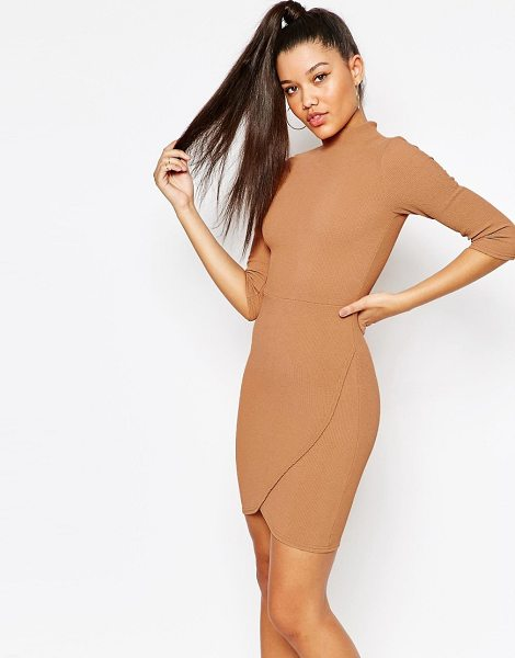 MISSGUIDED High Neck Textured Wrap Dress in tan - Body-Conscious dress by Missguided, Textured stretch...
