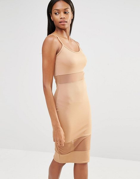 MISSGUIDED Jersey Mesh Insert Midi Dress in tan - Midi dress by Missguided, Stretch jersey, Scoop...