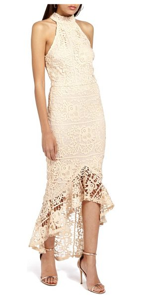 MISSGUIDED lace body-con dress in nude - A lace fishtail hem dramatically punctuates every move...