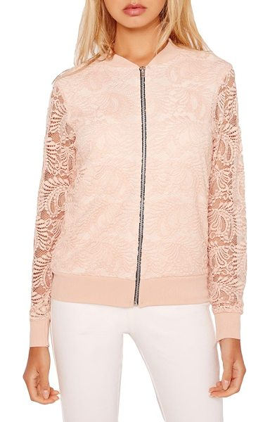 MISSGUIDED lace bomber jacket in nude - Feminine pink lace updates a sporty bomber jacket left...