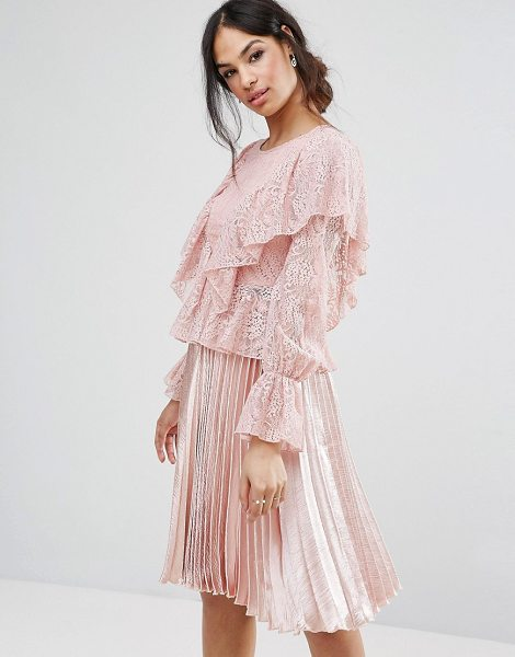 MISSGUIDED Lace Frill Blouse - Blouse by Missguided, Lace knit, Crew neck, Frill...