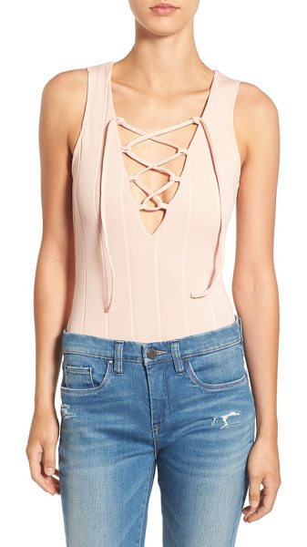 MISSGUIDED lace front bodysuit in nude - Knit with ribbed texture, this super-slim bodysuit is...