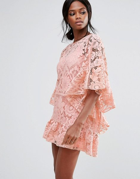 MISSGUIDED Lace Kimono Sleeve Dress in pink - Dress by Missguided, Woven lace, Partially lined, Scoop...