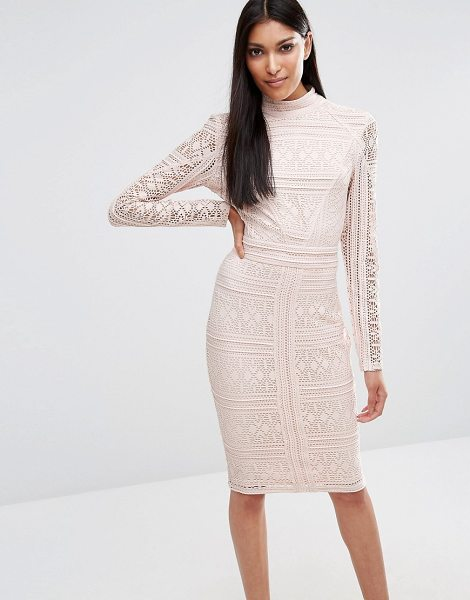 MISSGUIDED Lace Long Sleeve High Neck Midi Dress - Midi dress by Missguided, Lace fabric, Partial lining,...