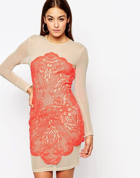"""MISSGUIDED Lace Mesh Bodycon Dress in pink - """"""""Bodycon dress by Missguided, Embellished lace fabric,..."""