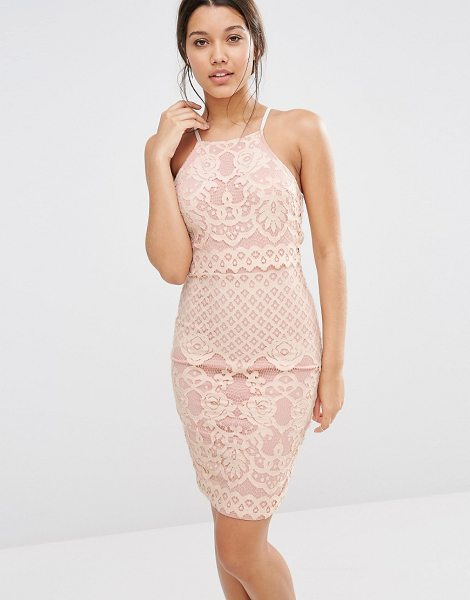 MISSGUIDED Lace Strappy Double Layer Dress in pink - Midi dress by Missguided, Woven lace, Racer style,...