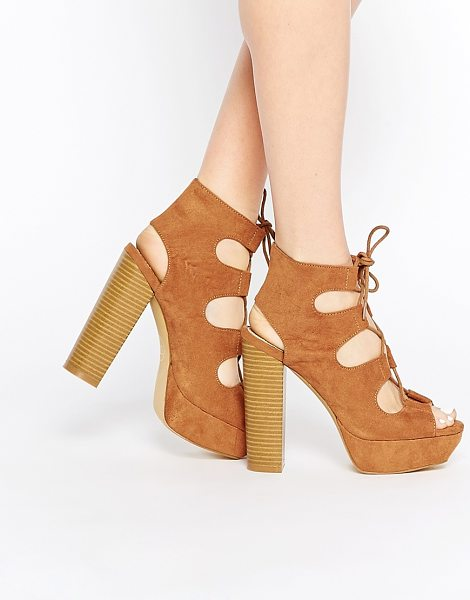 MISSGUIDED Lace up 70s platform sandal in tan - Platform shoes by Missguided, Suede-look upper, Lace-up...