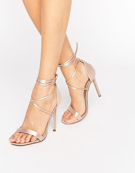 MISSGUIDED Lace Up Barely There Heeled Sandals in beige - Heels by Missguided, Satin upper, Barely there styling,...