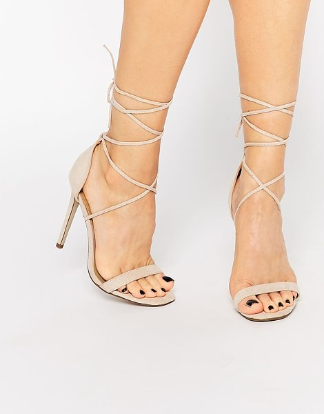 MISSGUIDED Lace Up Barely There Sandal in beige - Heels by Missguided, Leather-look upper, Lace-up...