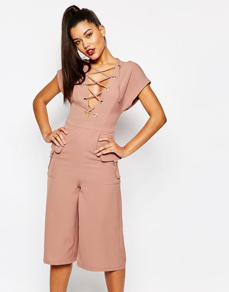 MISSGUIDED Lace up culotte jumpsuit in pink - Jumpsuit by Missguided, Woven stretch fabric, Plunging...