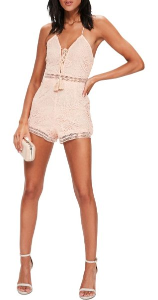 MISSGUIDED lace up romper in pink - Look extra cute as you stroll to get brunch in this lacy...
