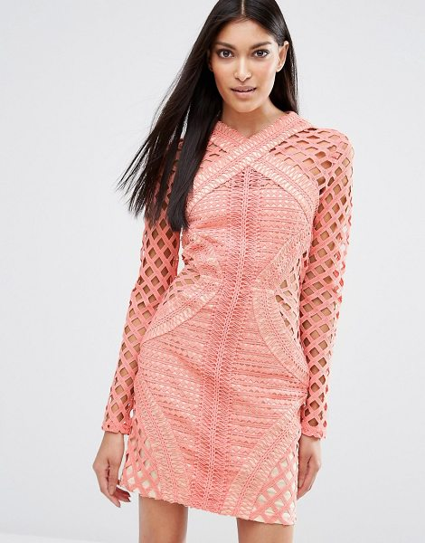 "MISSGUIDED Long Sleeve Lace Cut Out Dress in pink - """"Bodycon dress by Missguided, Semi-sheer crochet lace,..."